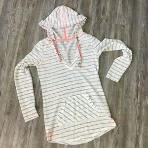 Maurices Sheer Striped Hoodie Tunic Size Small